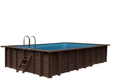Piscina de madera Summer Oasis, montaje sobre rasante y subterráneo, forma rectangular, 6,00 x 4,19 x 1,31 m, con bomba, escalera y skimmer