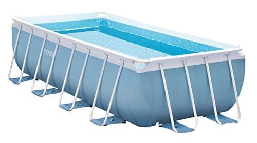 Intex 28316 Piscina sobre el suelo rectangular con estructura de soporte en PVC de triple capa con bomba de filtrado y escalera, 6800 litros, azul, 400x200x100 cm