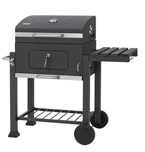 Tepro - Grill / Barbecue Modelo Toronto 1061, Transportable con 2 ruedas, Superficie de apoyo lateral, Temperatura regulable, En acero inoxidable, Negro y cromado