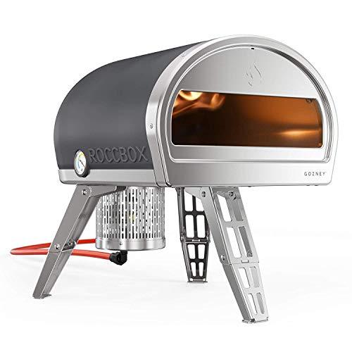 Horno para pizza portátil y externo ROCCBOX - Horno para pizza externo de gas o leña, combustible doble, fuego y piedra