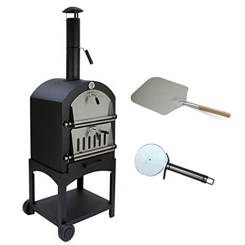 KuKoo - Horno de carbón multifuncional para pizzas al aire libre, entrada de jardín y balcón, acero para carne y pescado con pelador y cortador de pizza