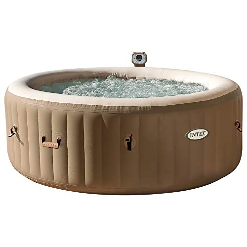 Intex 28404 Pure Spa Bubble Therapy con bomba, 795 litros, calentador y sistema de purificación de agua, 196x71 cm, 4 asientos, beige 2018