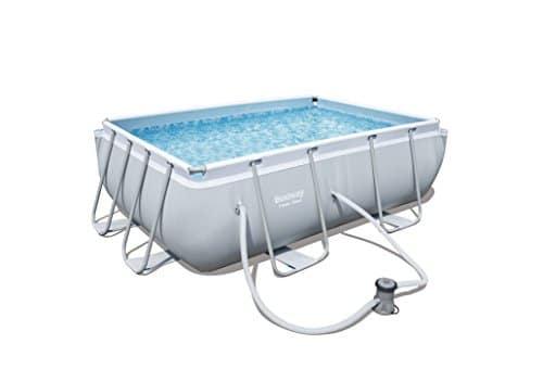 Bestway, Power Steel, juego de piscina rectangular con estructura de acero, gris claro, bomba con filtro, 282 x 196 x 84 cm