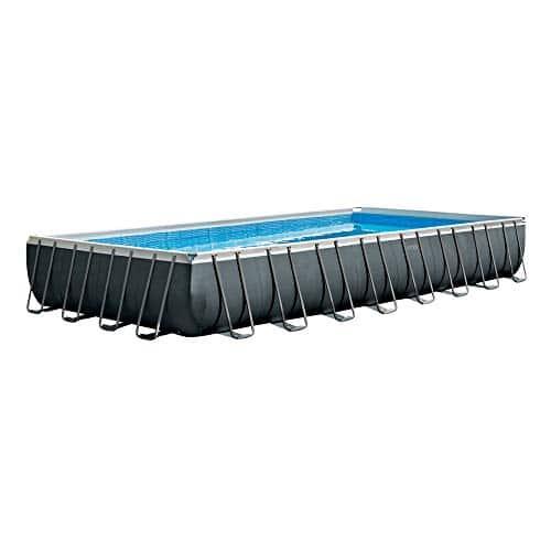 Piscina rectangular Intex 26374, con bomba de arena combinada, escalera doble, cubierta, capacidad de agua 54,368 L al 90%, gris, 975 x 488 x 132 cm